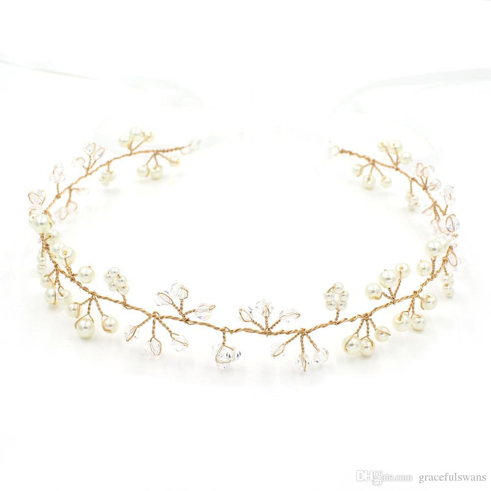 Perles De Cristal Charmantes Bandeaux Pour Filles Or et Couleurs Ruban En Vente Bijoux De Cheveux De Mariée Accessoires De Mariage