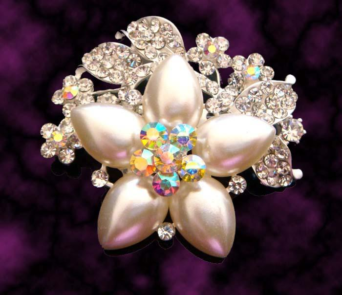 hot sale wedding plating silver fashion zinc alloy rhinestone flower Brooch bride jewelry mixed color BH705
