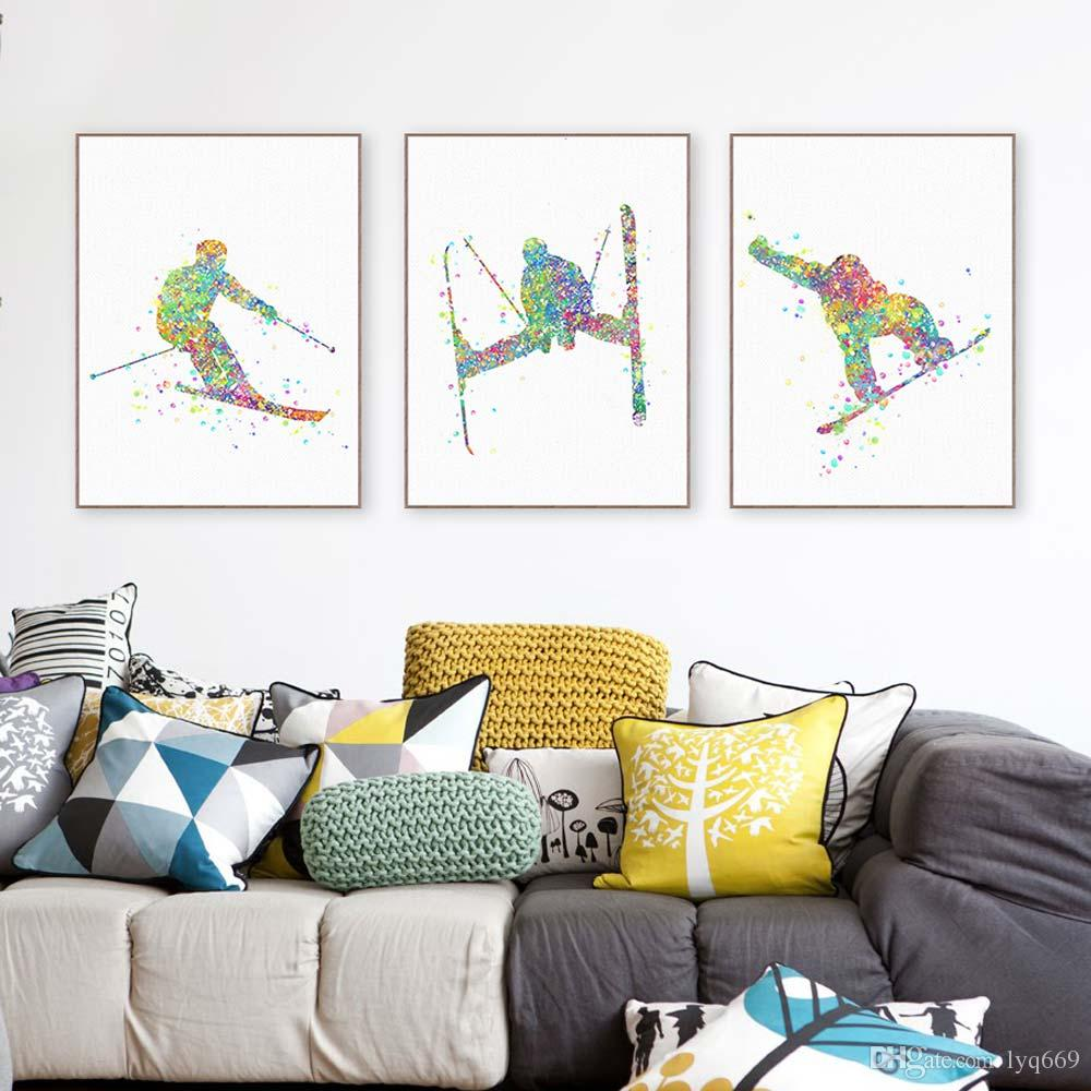 Modern Watercolor Skiing A4 Art Print Poster Abstract Sports Man Wall Picture Canvas Painting Living Room Home Deco Gift