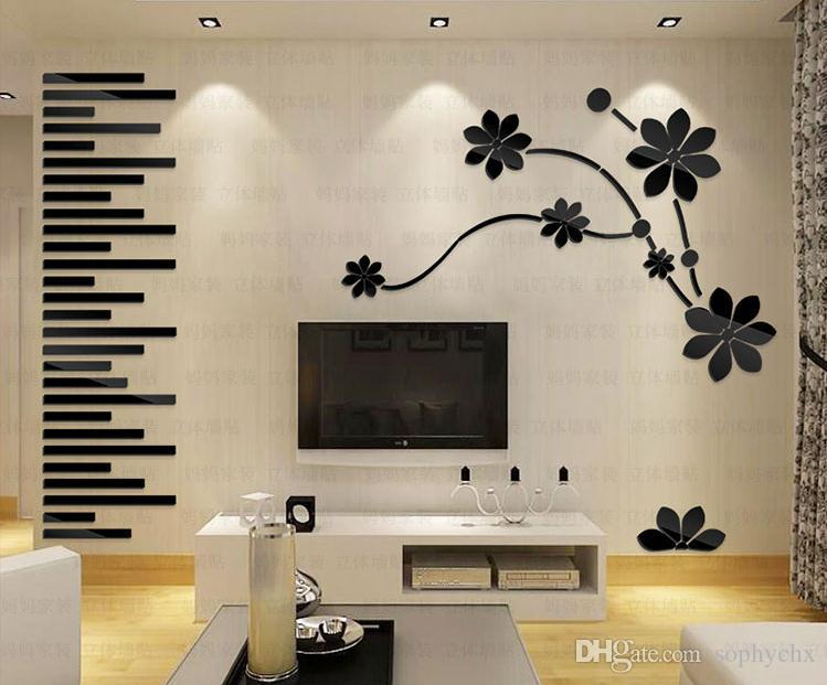 Flowers wall stickers creative 3d wall stickers decorative for living room bedroom television walls