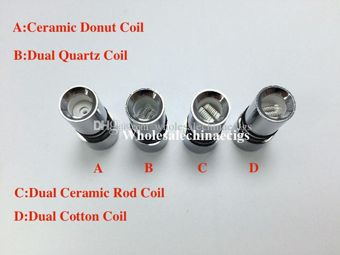 DHL Free Dual Quartz Skillet Wax Vaporizer with Ceramic Donut Coil Ceramic replacment Straight Tube Metal Atomizer Cannon Glass Globe