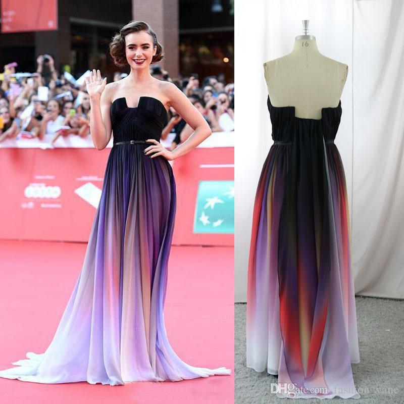 Compre 2017 Vestidos Coloridos De La Manera Elie Saab Vestidos De ...