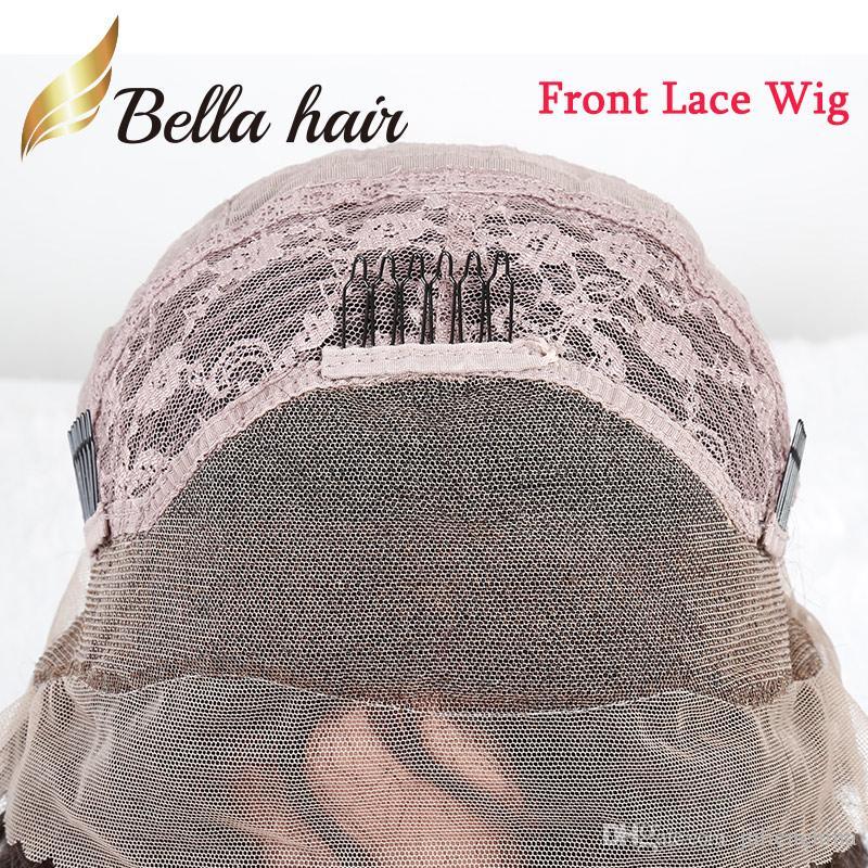 150% плотность шелковистой прямой полный парики шнурка 100% Индийский Реми парики человеческих волос с Милой аккуратные взрыва парики шнурка Julienchina Белла волос