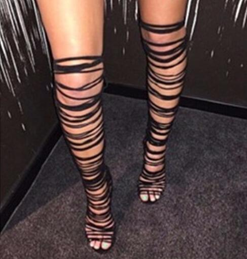Sexy Summer Thigh High Boots Gladiator Sandal Slim Tight Over Knee ...