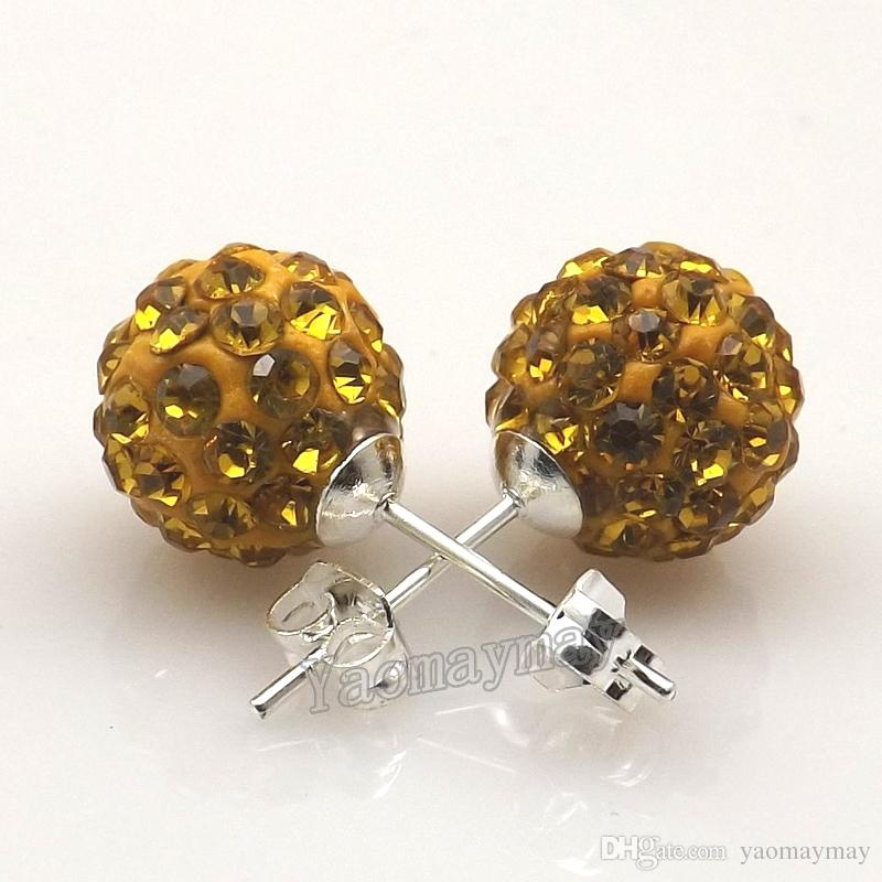 New Arrives 10mm Gold Disco Balls Rhinestone Earring Studs For Holiday Wholesale