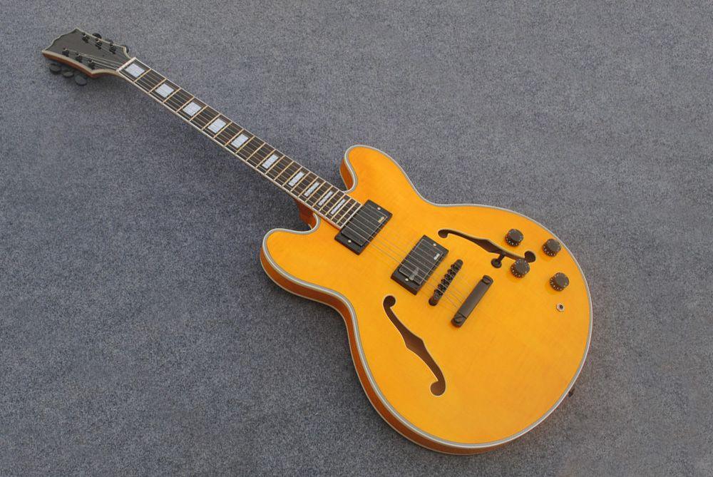 wholesale custom jazz electric guitar 335 hollow body guitar emg pickups in stock handmade. Black Bedroom Furniture Sets. Home Design Ideas