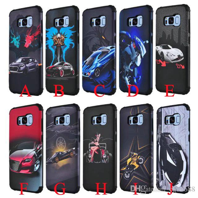 new products 1795d 33d7b Cool car combo TPU PC Anti-knock phone shell case for Samsung S8 car holder  phone armor cover for Samsung Galaxy S8 Plus