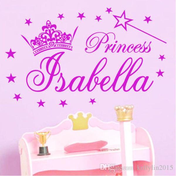 Custom Name Wall Stickers Crown Princess Girl Bedroom Vinyl Wall - Custom vinyl decal usage and application