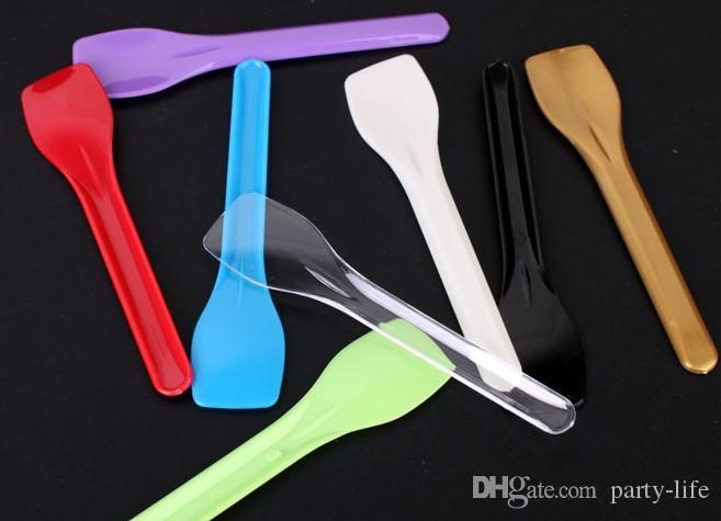 Cucharas de helado de plástico envueltas de 5000 piezas para el postre Muestreo de alimentos Helado de helado de gelatina Cuchara para servir, cuchara de pastel.