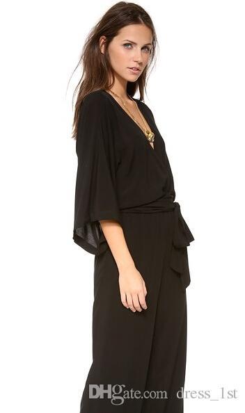 Simple 2016 Latest Black Chiffon Jumpsuit Evening Wear Cheap Deep V Neck 3/4 Long Sleeve Bow Sash Pants Suit Custom Made EN5162