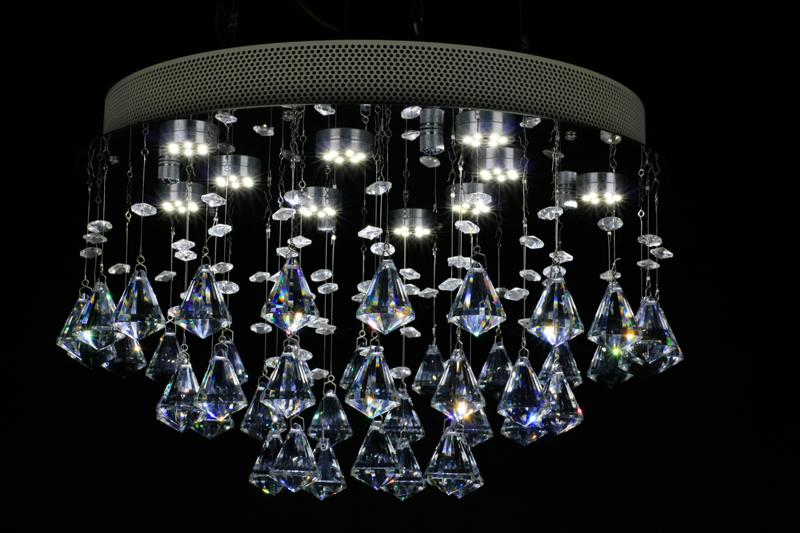 kristal avize Elmas kristal 15 inç Yemek odası lamba misafir odası 10 inç yüksek Paslanmaz çelik ışıklar