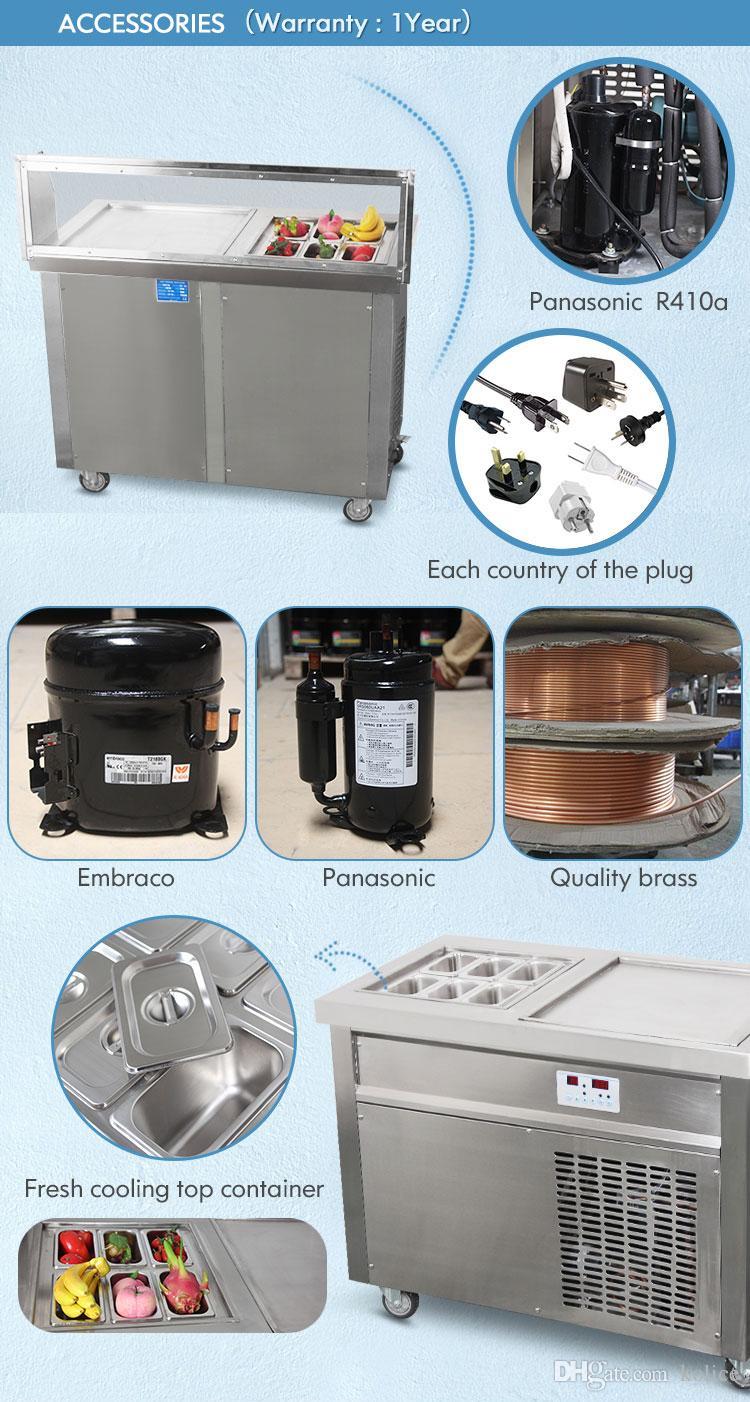 ETL CE Tek Kare Pan + 6 Soğutma Tankları Kızarmış Dondurma Rulo Makinesi Rulo Dondurma Makinesi Soğutucu