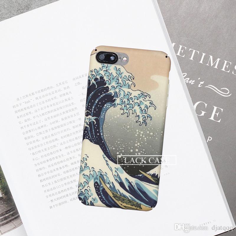 Caja del teléfono para el iphone 7 Caso de la historieta Ola del mar Océano Cubierta de la manera Dura Fundas protectoras completas para iphone7 7 Plus Capa