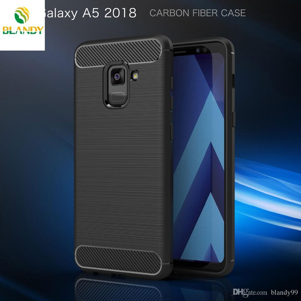 buy online 692ee b7c46 For Samsung galaxy A5 2018 Carbon Fiber soft Silicone Back cover Case For  Samsung galaxy A7 2018
