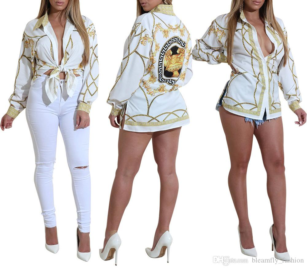 2017 Autumn Gold Chain Print Blouses for Women Long Sleeve Turn Down Collar Button up Female Shirt Sexy Casual Ladies Tops