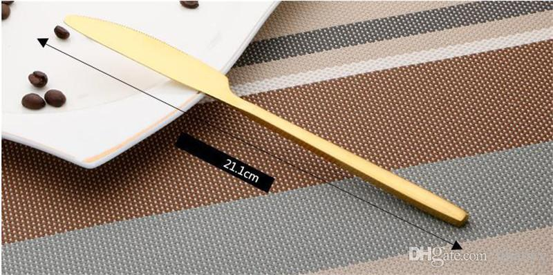 Лучшие продажи из нержавеющей стали покрытием золота западные пищевые посуды столовые приборы вилка нож совок столовые посуды набор столовых приборов C135