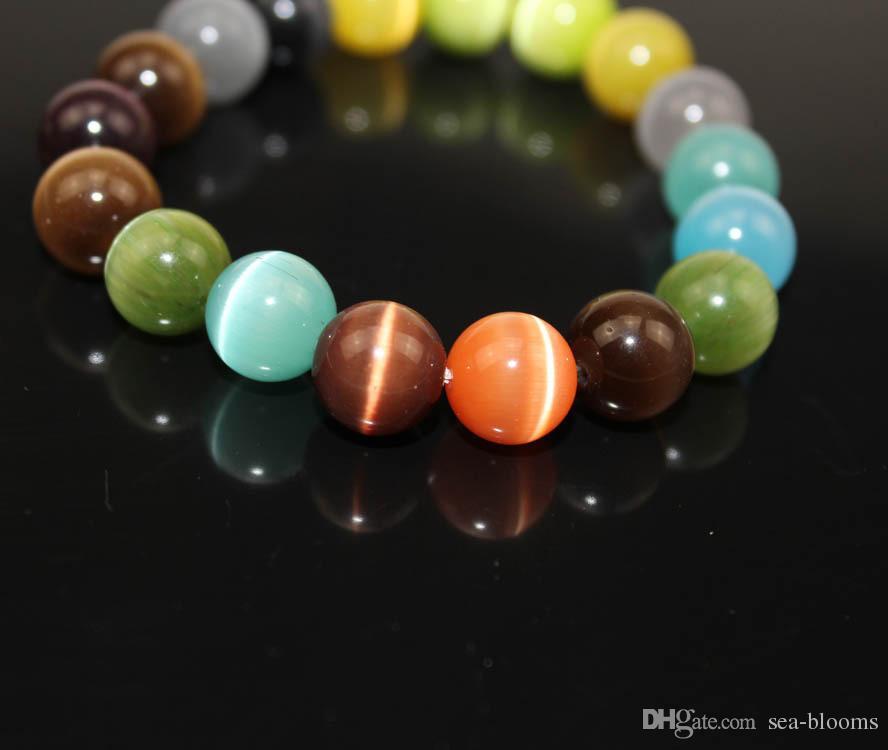 Multi Color de los ojos del gato pulsera del encanto de la joyería de piedra 8 mm 10 mm granos redondos de la mujer Pulsera de novia Para semipreciosa Amor B697S regalo