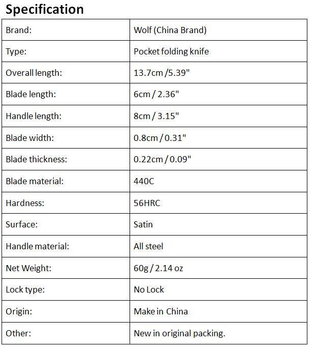 Venta al por mayor de China Marca Wolf Cuchillo de hoja pequeña plegable 440C 56HRC Hoja de acabado satinado Cuchillo de llave Cuchillos de bolsillo EDC