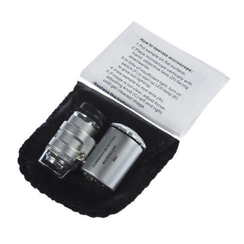60x Mikroskop Juvelerare Förstoringsglas 60 x Mini Loupes Förstoringsmedel Pocket Smycken Mikroskop med LED-ljus + Läderpåse 2018 Hot Sales