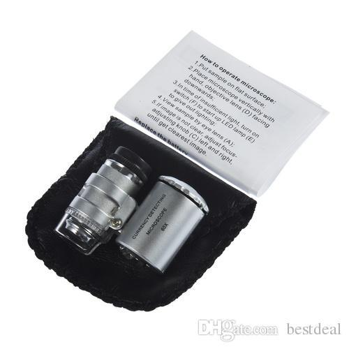 Handheld 60x jubiler Lupa Mini Magnifierki Mikroskop z LED Light Biżuteria Powiększająca Lupa Lupa Biżuteria Loupes Darmowa Wysyłka