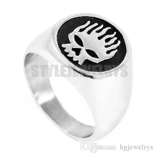 ! Flame Skull Motor Biker Ring Stainless Steel Jewelry Fashion Skull Motorcycle Biker Men Ring Wholesale SWR0443B