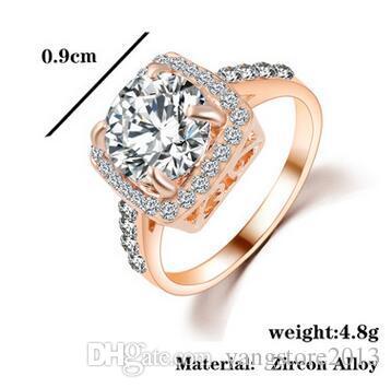 2016 مبالغ فيها كبير تشيكوسلوفاكيا الماس خاتم الزواج بالجملة 18 كيلو البلاتين مطلي حلية الكريستال مجوهرات للنساء هدية DFR071