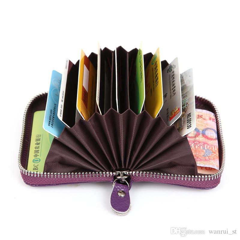 REAL cuero moda mulit opción de color de crédito bancario titular de la tarjeta bolsa de la bolsa de la tarjeta de membresía bolsa monedero de cuero de las mujeres carteras