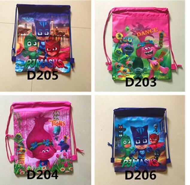 Children Moana Drawstring Bags Trolls Kids Backpack Cartoon Non ...