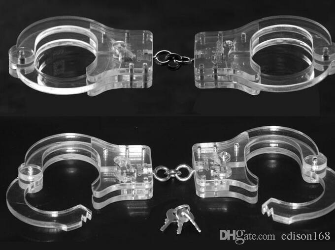 2018 Lusso Maschio Femmina Trasparente di Cristallo Restraint Slave Polso Restraint Manette Manacle BDSM bondage venire con catena giocattoli del sesso prodotto