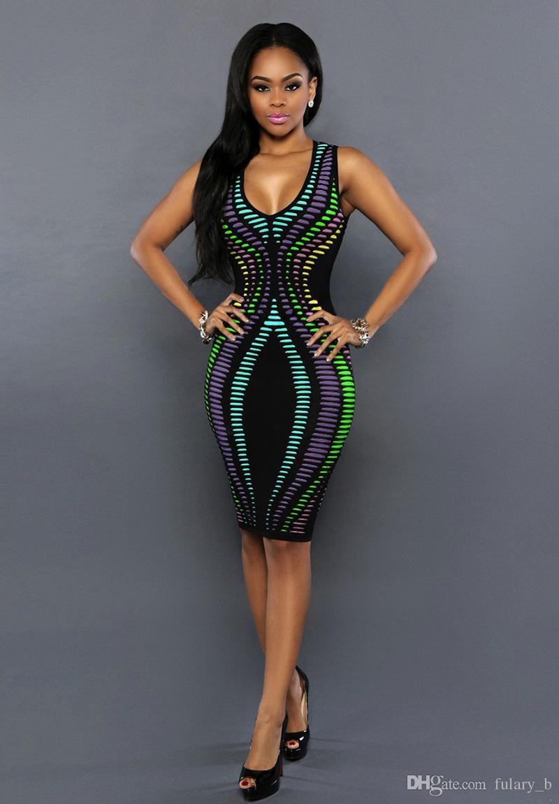 새로운 그라데이션 인쇄 민소매 드레스 슬림 얇은 꽉 패키지 힙 스커트 섹시한 V 넥 나이트 클럽 드레스