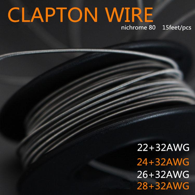 Nichrome Clapton Wire Heating Wires For E Cigs RDA Atomizer DIY E  Cigarettes 22AWG 24AWG 26AWG 28AWG 15ft Individually Packed