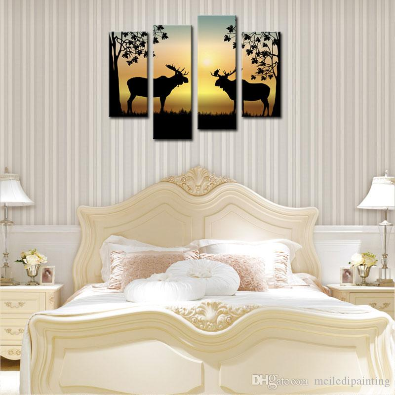 4 Panels Deer Painting Fluorescent Yellow Picture Print on Canvas with Wooden Framed Antler Racks Wildlife Home Wall Decor Ready to Hang