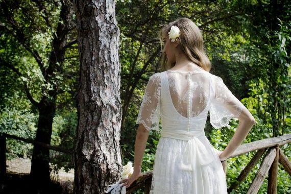 2016 bohemios vestidos de encaje de manga corta completos con un equipo de línea de fondo playa de la cremallera de la gasa de la cinta Vestidos de novia Vestidos de novia