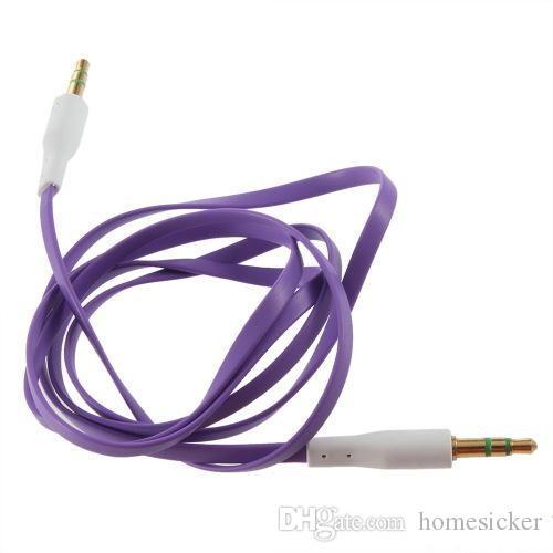 Бесплатная красочная плоская лапша 3.5 мм Aux аудио вспомогательный кабель Джек штекер стерео шнур провод для iphone