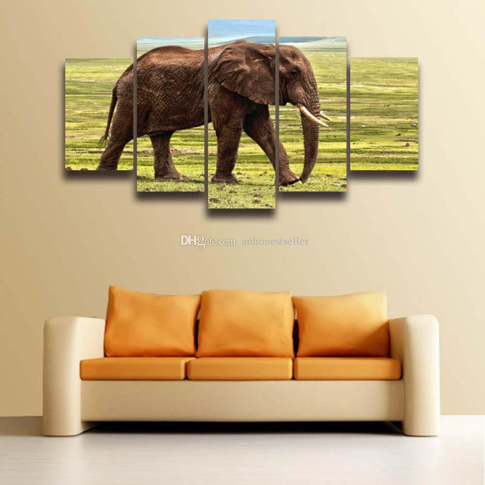 2018 5 Panel Canvas Wall Art Elephant Landscape Painting Modular ...