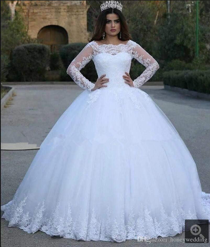 Modest Plus Size Wedding Dresses 2016 Long Sleeves Lace Appliques Ball Gown Bridal Gowns Custom Women Wedding Gowns Cheap