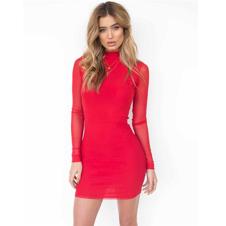 Women Net Yarn Long Sleeve Mini Bodycon Dress Dresses Autumn Winter Sexy Casual Party Club Black Dress vestidos DHL 171010