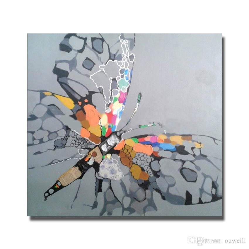 High quality newest design cartoon animal flower butterfly oil paintings for living room wall decor cheap modern canvas art