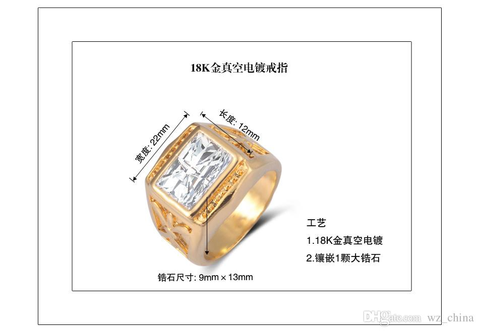 18k véritables annonces cubes cubes zirconia cubes big cz diamant bagues de mariage pour femmes et hommes