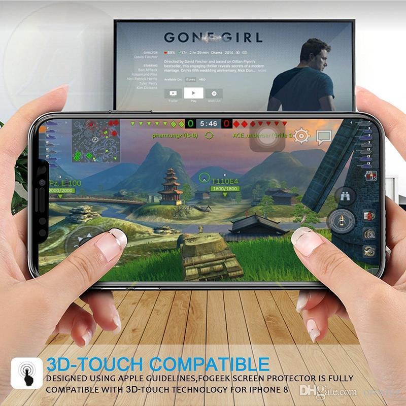Para iPhone X 8 Brillante fibra de carbono Vidrio templado 3D 9H Curva Pantalla de borde Película protectora para iPhone 7 7 Plus 6 5