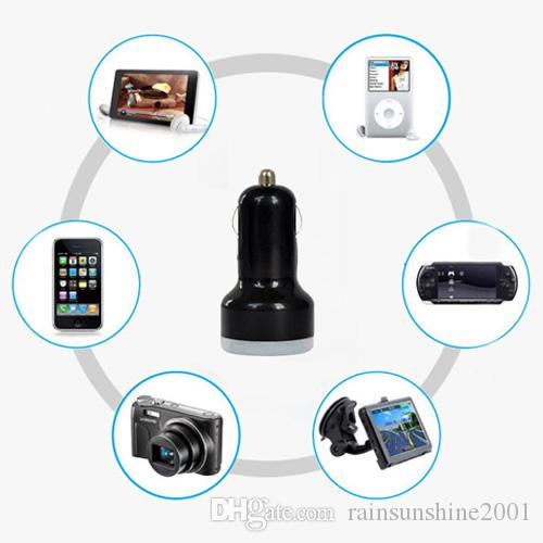 Mini 2 USB ports car charger colorful Cigarette Auto Power Adapter For Iphone 7 HTC Samsung S7