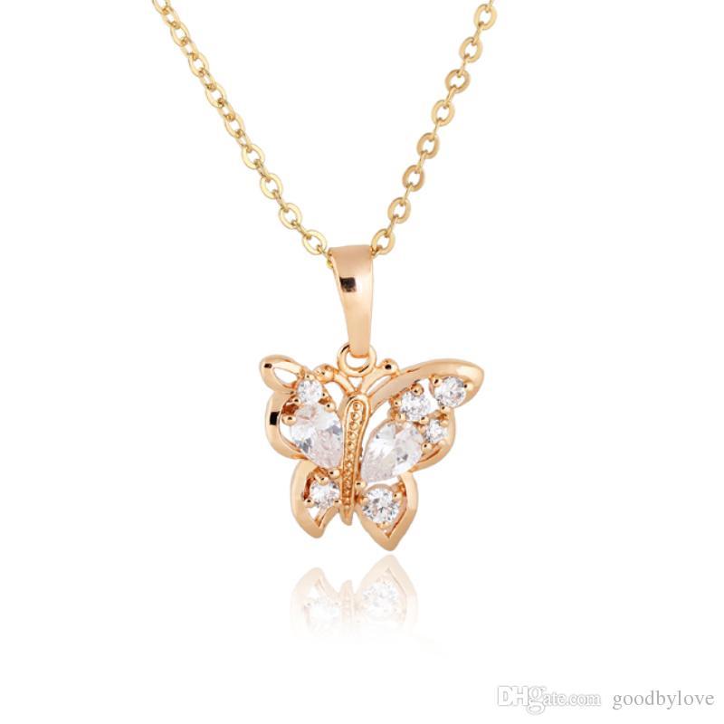 Животное ювелирные изделия 18K белый / желтый позолоченный цирконий CZ милый бабочка цепи Ожерелье для женщин