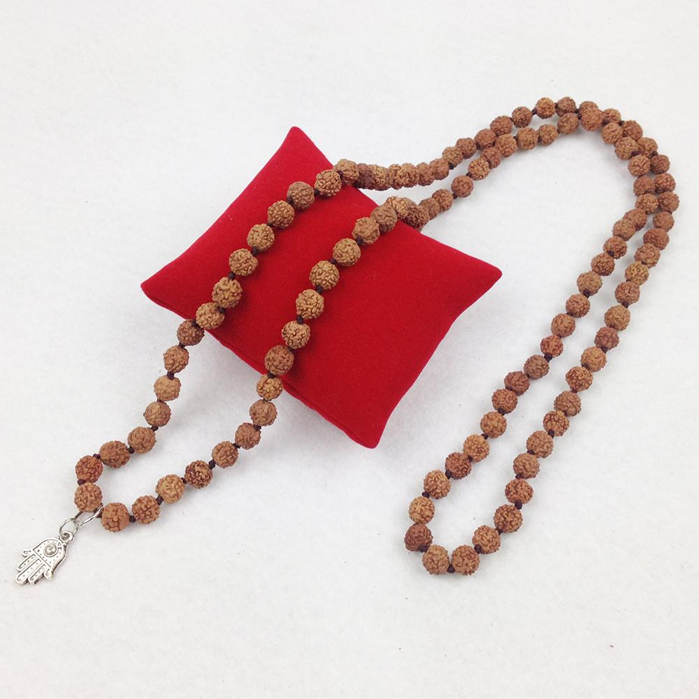 ST0289 Trendy Designer Rudraksha Knotted Necklace Popular Women `s Yoga Necklaces Hamsa Charms Jewelry