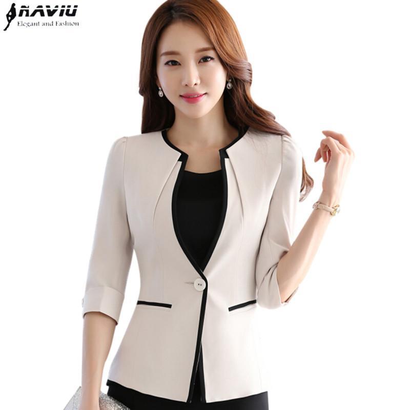 2018 female career fashion half sleeve women blazer new ol plus