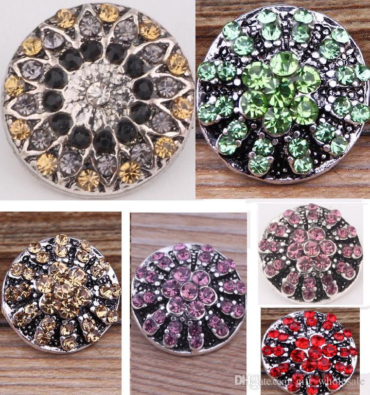 Gioielli accessori nuovo arrivo strass fiore colorato CZ pietra fascino blocchi pulsante perline, bottoni bottoni in metallo i pezzi bracciali