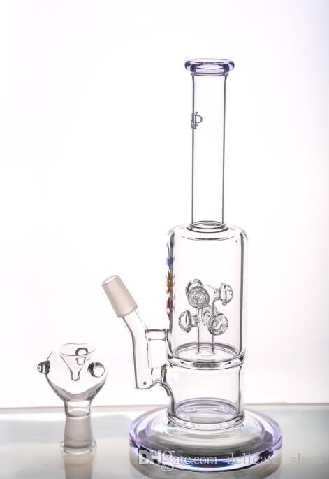 Neue preiswerte Glas Bongs Wasserpfeifen mit Logo Gear Percs Recycle Bohrinseln Glasbongs mit Schüssel Handblown Smart-Pipes Hookahs Raucher