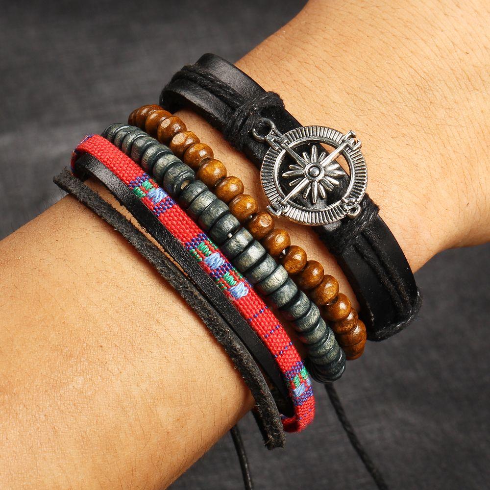 Beads Compass Leather Bracelets Girls Women's Vintage Handmade Jewelry Multi-layer Charm Bracelets Men's Accessories Adjustable Rope