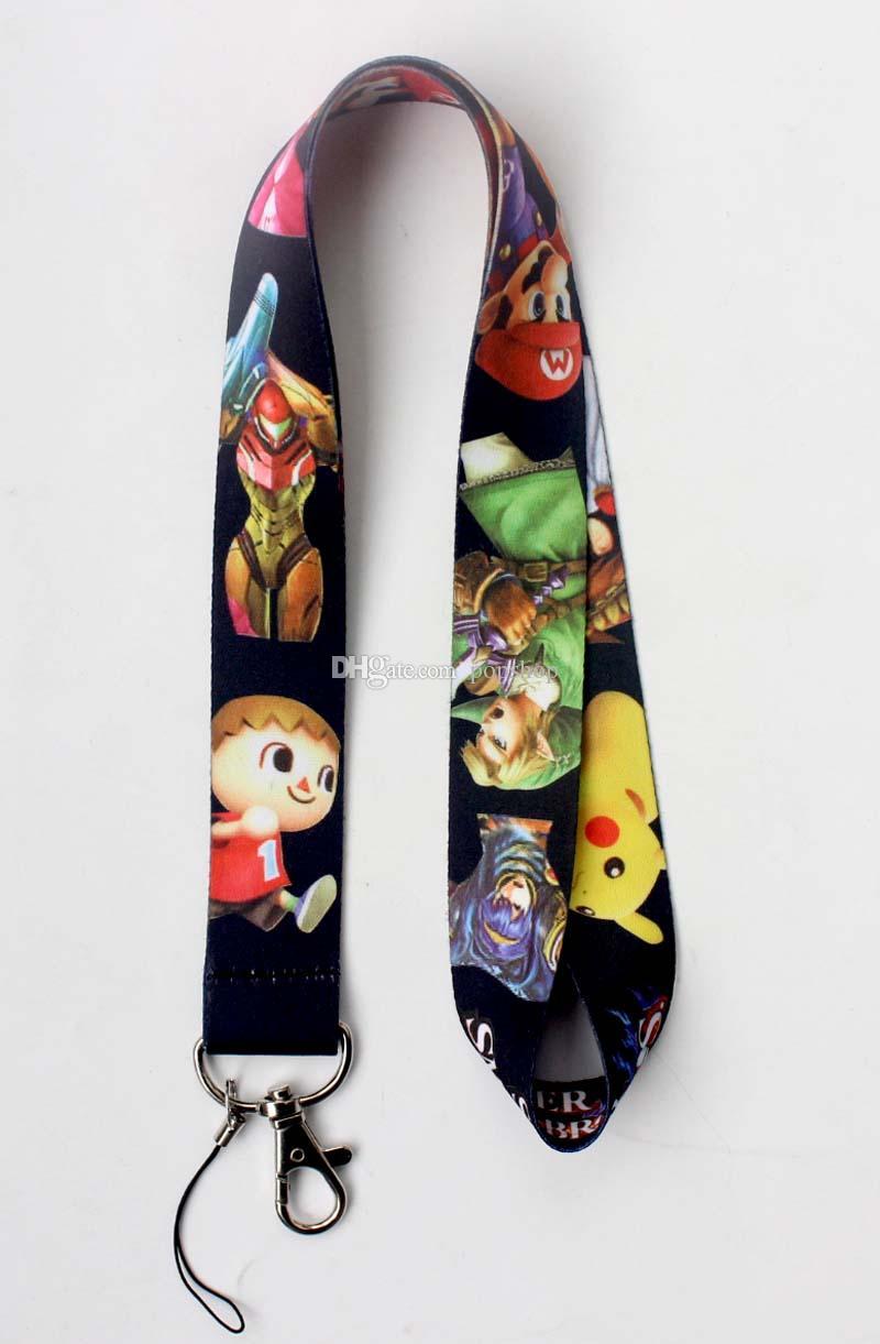Livraison gratuite Jeu Super Smash Bros Longes Tour de Cou Clés Appareil Photo Carte d'identité Lanière Mobile Téléphone Cou Sangles