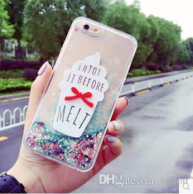 release date: 4c78b 74be1 DIY Ice Cream TPU Quicksand Case Cover For Apple iPhone 6 6S Case Silicone  6 Series Bling Glitter 3D Case For Phone