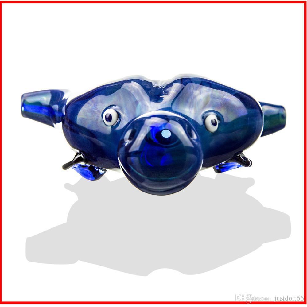 Tubo di vetro testa di mucca spessa tubi di fumo Tabacco di erba secca tabacco di colore blu di alta qualità Unico tubo di fumo Np1402